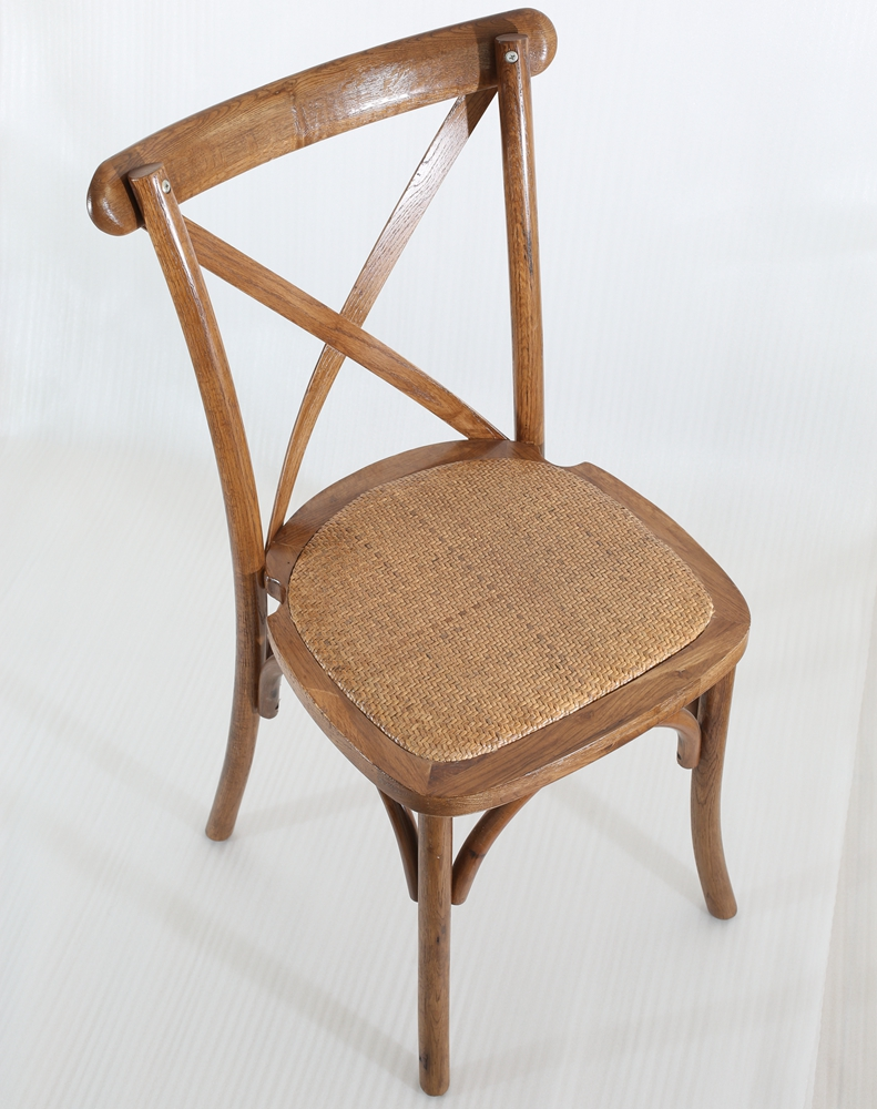 <strong>Oak</strong> <strong>antique</strong> cross back chair with rattan seat for wedding/banquet