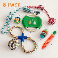 Cotton Rope Pet Chew Toy Set With LOGO Small Medium Dog Latex Training 8 Pack Squeaky Dog Toy Ball