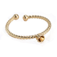 2017 new arrivals base metal brass gold plating vogue wedding jewelry open design ring setting with end ball