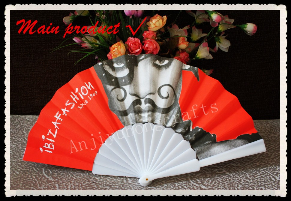 Promotional Plastic Hand Fan With Paper Printed