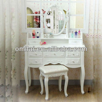 European style luxury cosmetic table with 4 drawers mirror