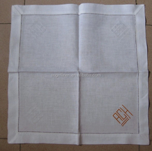 100 linen hemstitched wedding monogrammed table napkins in white color