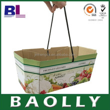 b-l-12387 cardboard box for fruit and vegetable printing with rope handle