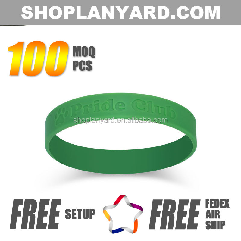 Customized debossed band bracelets with logo