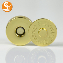 18MM handbag logo metal plate Gold bag china wholesale magnetic buttons