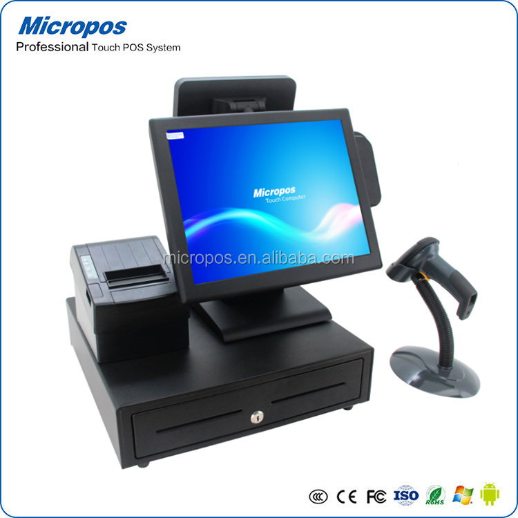 15 inch pos system fanless quad -core all in one touch screen pos system