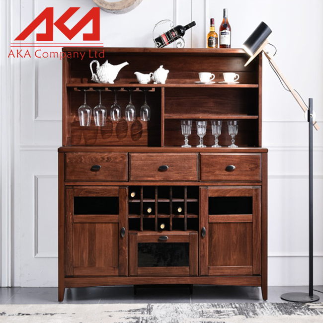 Classic Solid Oak wood Wine Cabinet from China supplier