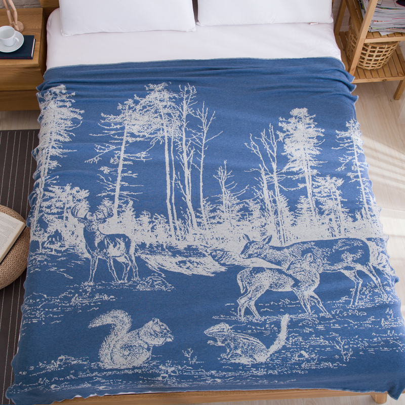 high quality cotton forest deer jacquard knitted blanket