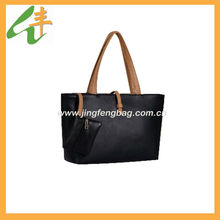 2014 promotional simple two pieces black leather fashion ladies handbag