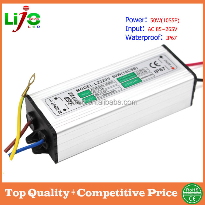 50w ip65 waterproof 110v 220v led driver factory price US$ 1.8