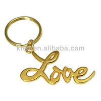 custom 2014 hot sale beautiful gold-plated love keychain/ key ring /key fob