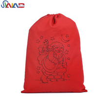 New style Christmas santa presents drawstring gift bag, cotton eco-friendly manufacturer custom