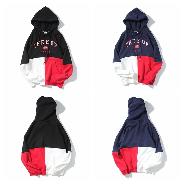 Men Clothing 2017 Wholesale Unisex Hoodie With Different Colored Sleeves