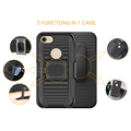 Hot sale dual layer hybrid shell holster kickstand combo case cover for iphone 7 7 plus with car holder