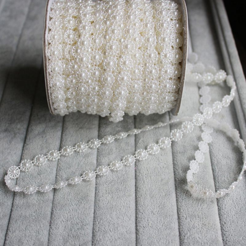25M/Roll 10MM Imitated Pearl Sun Flower String Bead Garland Strand Wedding Decoration DIY Bridal Flower Bouquet