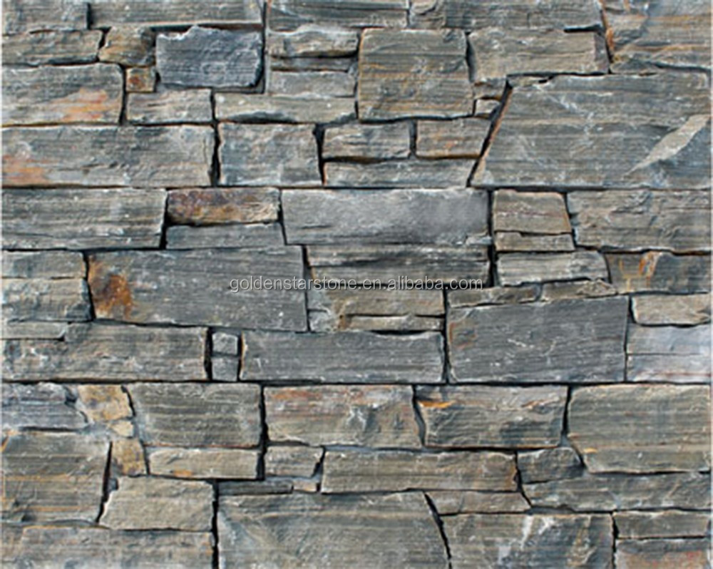 Natural brown slate stone panels for exterior finish