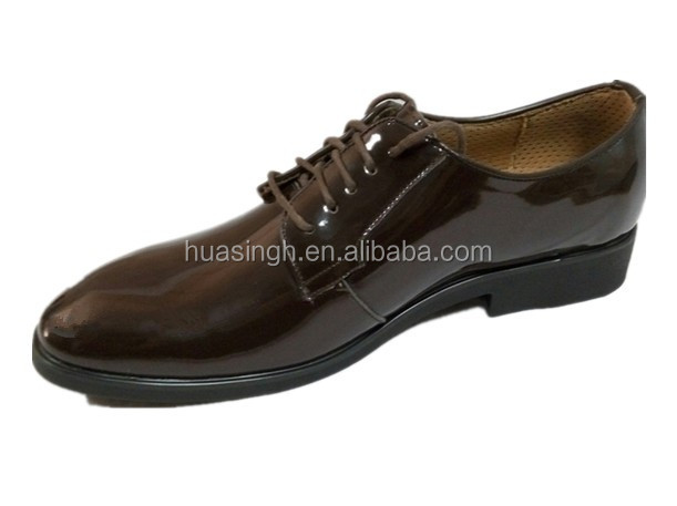 formal lace up design high gloss leather uniform men dress shoes with jote toe
