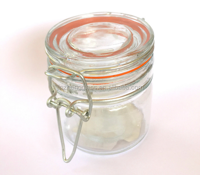 Glass Jar for Jam, Sauce, Honey, glass jar with latched lid