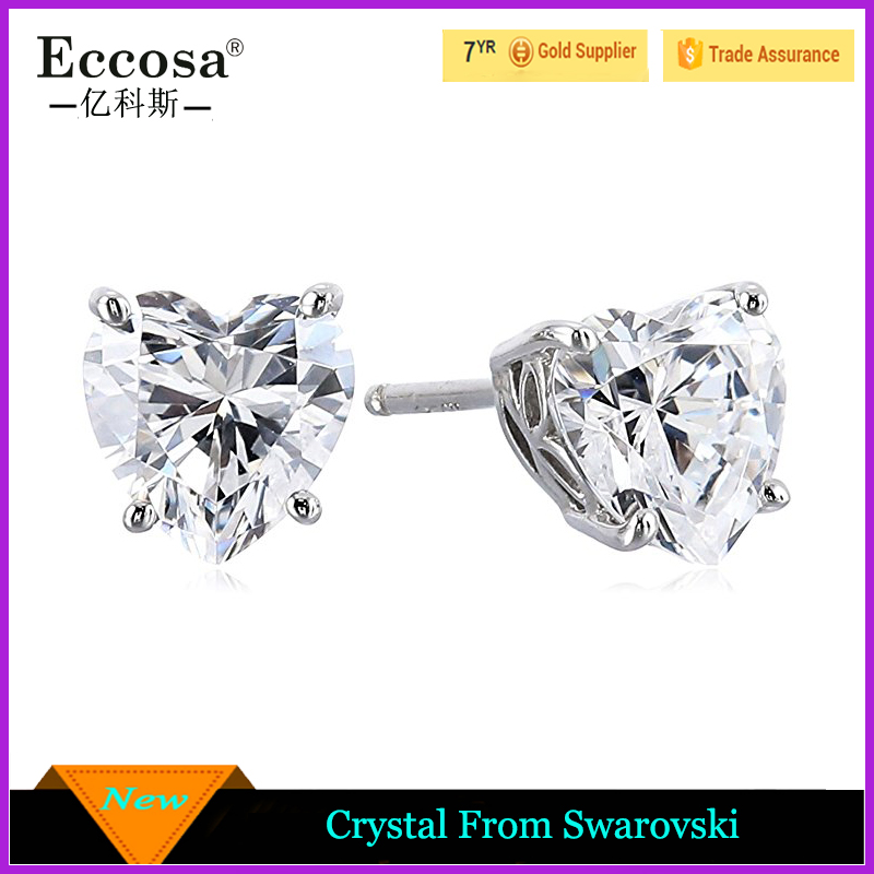 Hot Sale Alloy 925 Sterling Silver Heart Shaped Crystal From Swarovski Stud Earrings Women