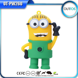 Custom shape promotional power bank cute minion battery charger 4400mah