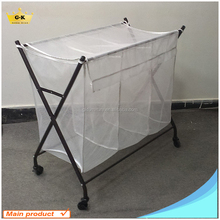 3 Bin bags used Metal and Mesh Fabric Laundry Bag Carts Sorter with wheels for Hotel made in china