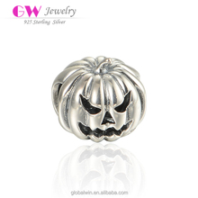925 Sterling Silver Holloween Pumpkin Custom Made Hollow Bracelet Charm