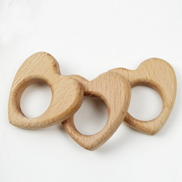 Natural Wooden Teether heart- Organic Baby Toy - Baby Teether