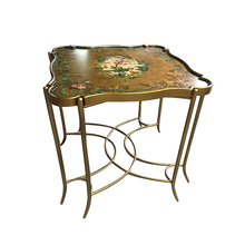 Luxury antique woodenwooden corner table with beautiful painting