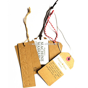 garment string recycled brown kraft paper tag with eyelet
