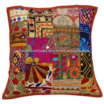 EMBROIDERED CUSHION COVER INDIAN KUTCH PATCHWORK MULTICOLOR PILLOW CASE