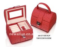 red Pu Leather Jewelry Display Box Organizer Tray Lockable Makeup Storage Case with Mirror