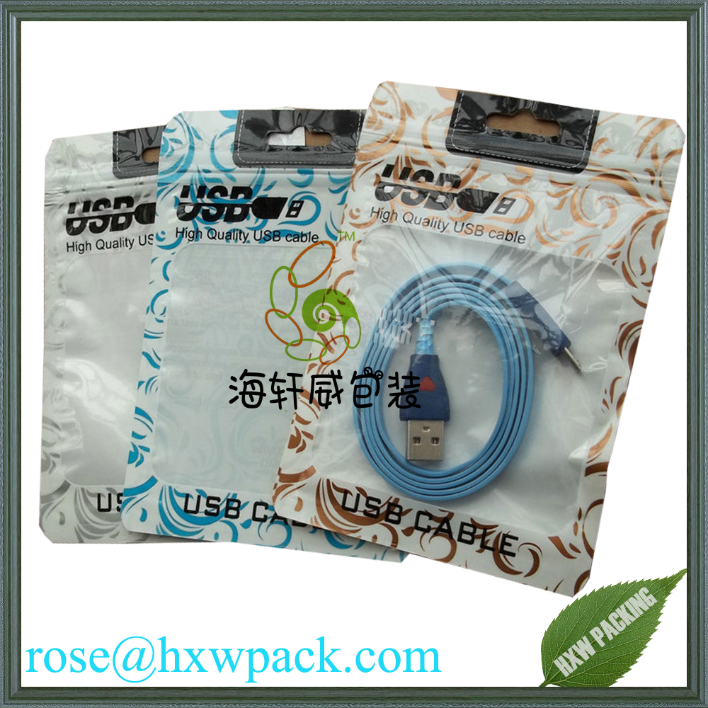 Custom printed plastic packing ziplock cable bag ,Clear window + white finish retail resealable ziplock data cable packing bag