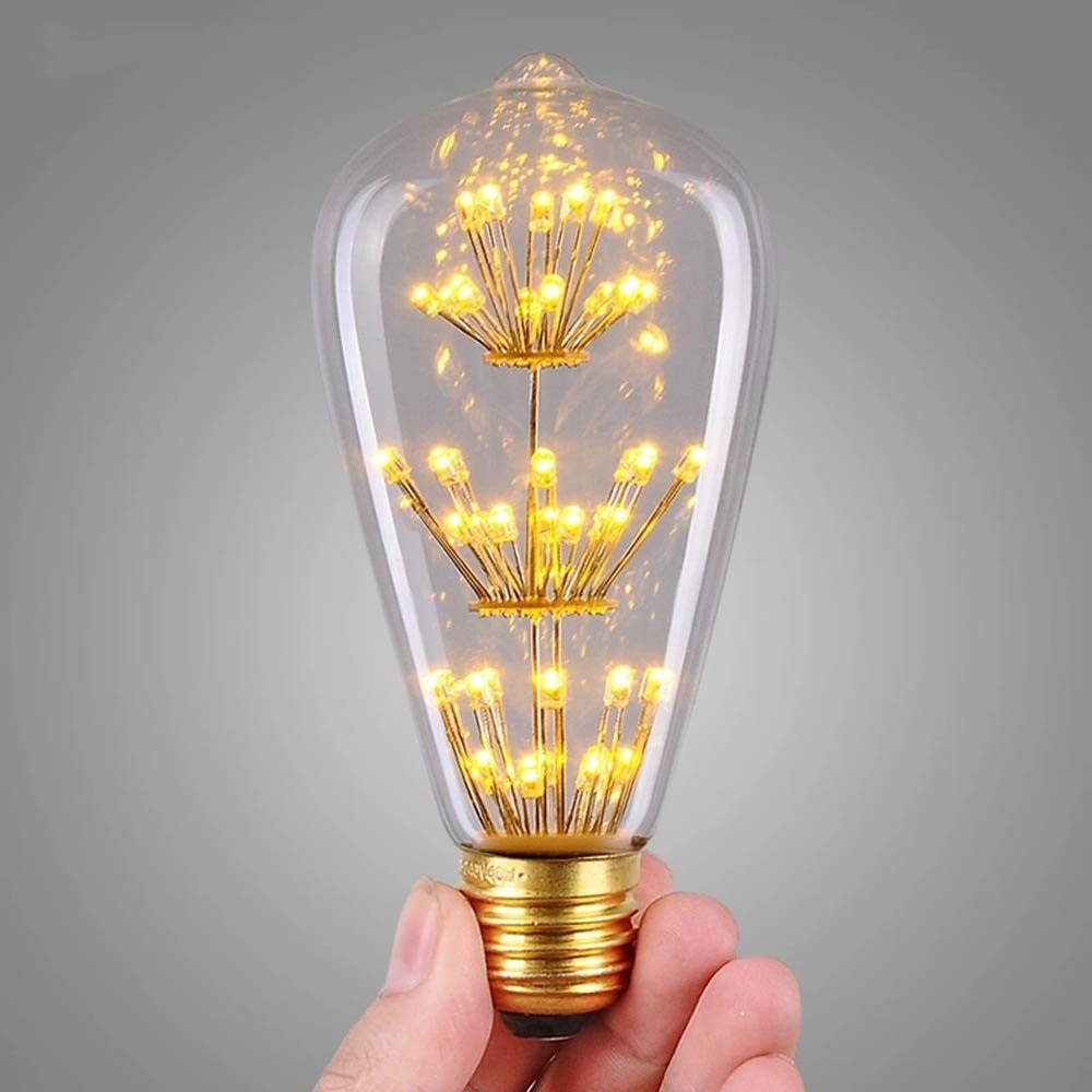 new design st64 fireworks led light bulb e27 edison vintage style