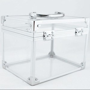 Clear Jewelry Cosmetic Make Up Acrylic Train Case Make Up Organizer
