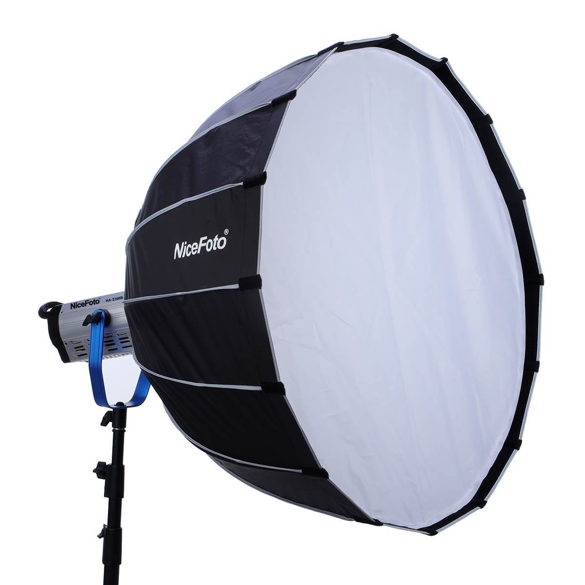 NiceFoto LED Parabolic softbox with grid Quick set-up deep softbox 90cm for LED light Umbrella frame softbox with grid