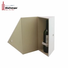 Magnet closing white PU packaging box for wine