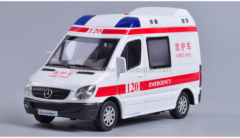custom 1/32 scale die cast metal China emergency vehicles ambulance toy car models