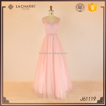 Tulle V Neck Open Back Pink Women Wedding Party Dress 2016