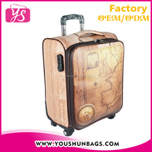 New design fashion printed PU leather luggage bags cases with four spin wheels