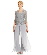 3pcs Suit Fantastic Pant Chiffon & Lace Spaghetti Straps Neckline Full-length Mother Of The Bride Dresses