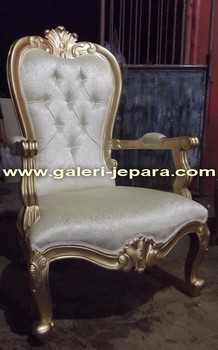 Gold Leaf French Arm Chair - Indoor Living Room Furniture - Sofas 1 Seater Chairs