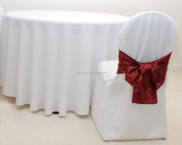 220 gsm polyester damask table cloth /polyester chair cover/red satin sash