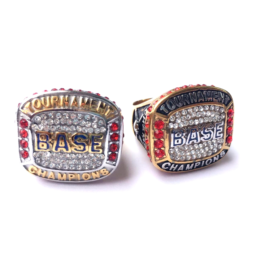 Custom logo silver and gold replica world baseball champion rings, national championship rings for childs (SP-016)