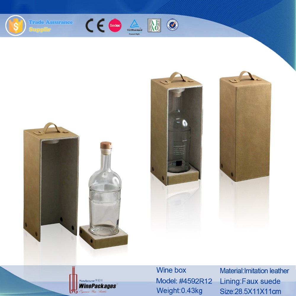 PU Leather Wine Wooden Custom Cardboard Wine Glass Gift Boxes Wholesale Box For Wine Bottle