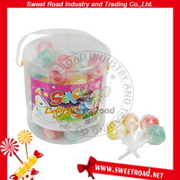Big Plastic Lollipop Colorful Ball Popping Candy With Foot Lollipop