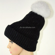 Popular Design Natural Animal Fur Pom Pom/Ball Beanie Chunky Knit Cap/Hat