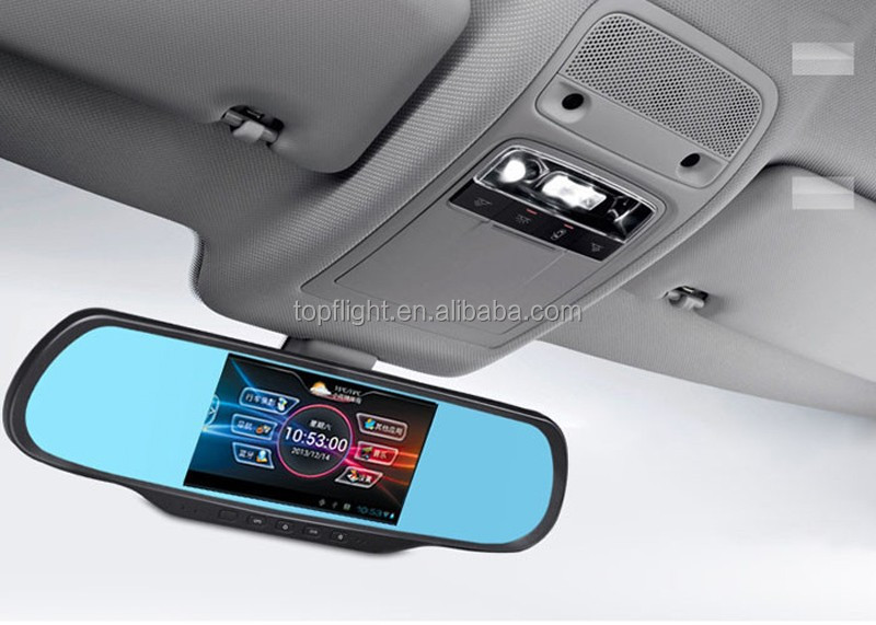 "5"" Touchpad Android Dual Lens Backup Camera 1080P GPS Car Navigation Recorder Camera Car Rearview Mirror DV DVR"
