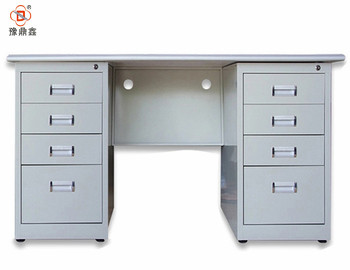 Louyang home office used metal desk design with double size 8 drawers