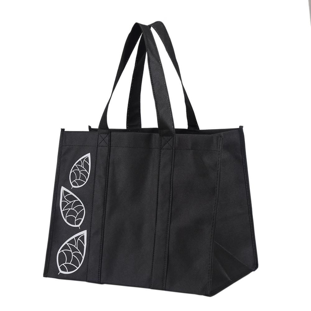 Customized Black Large Collapsible Reusable Reinforced Grocery Tote <strong>Bag</strong> Shopping <strong>Bag</strong>