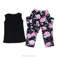 fashion children clothing 2016 summer black tank floral legging baby girl boutique clothing sets
